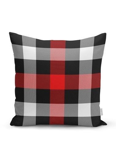 Real Homes Siyah Kırmızı Beyaz Ekose Desenli Dekoratif Yastık Kırlent Kılıfı Renkli